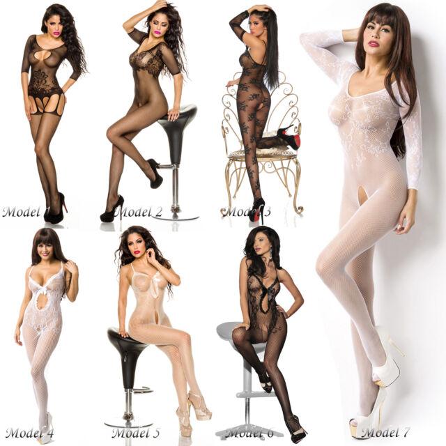 Sexy Ouvert Catsuit Netz Bodystocking Dessous Reizwäsche Bodysuit schwarz weiß