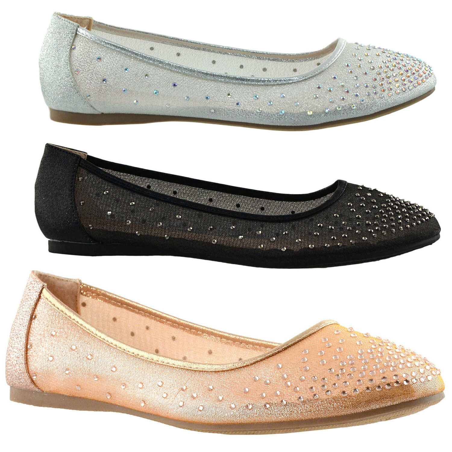 Womens Ballet Slip On Rhinestone Dress Ballet Womens Flats Comfort Shoes Silver 4df6fe