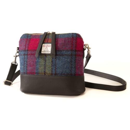 Maccessori Pink Blue Green Tartan Check Harris Tweed Cross Body Handbag Purse