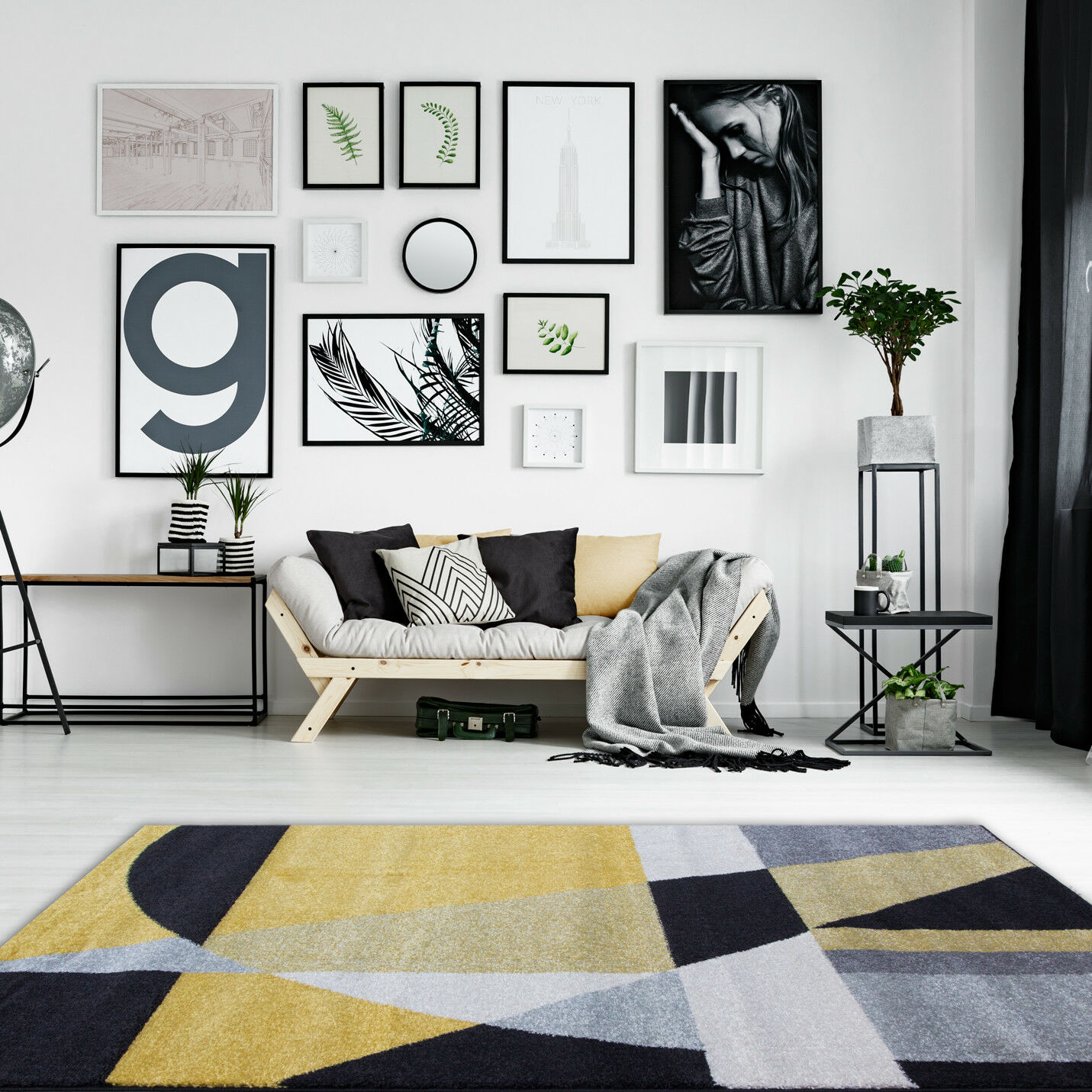 Modern Artistic Gelb Ochre grau Rugs Soft Non Shed Abstract Geometric Rugs UK