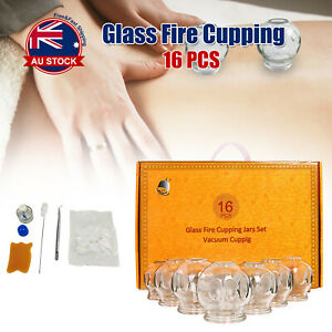 16Pcs Glass Fire Cupping Jars Chinese Acupuncture Vacuum Massage Therapy Sets O