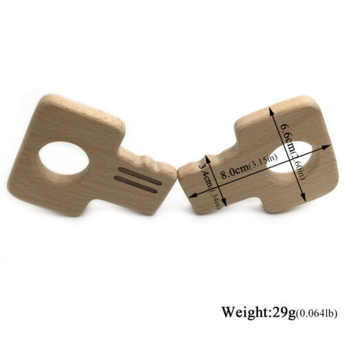 Wood Color Baby Molar Tooth Toy DIY Wooden Key Ornaments Baby Teether RD