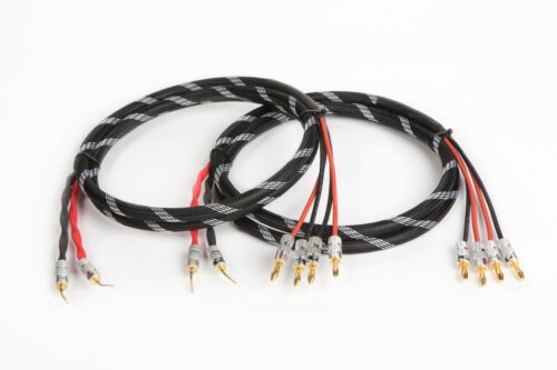 5 Ft. Canare 4S11 HI-FI Bi-Wire Speaker Cable Pair Braided 2 Pin  to 4 Banana