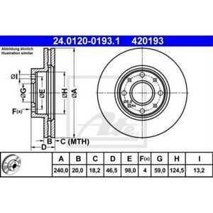 ATE 2x Disques de Frein Ventilé 24.0120-0193.1