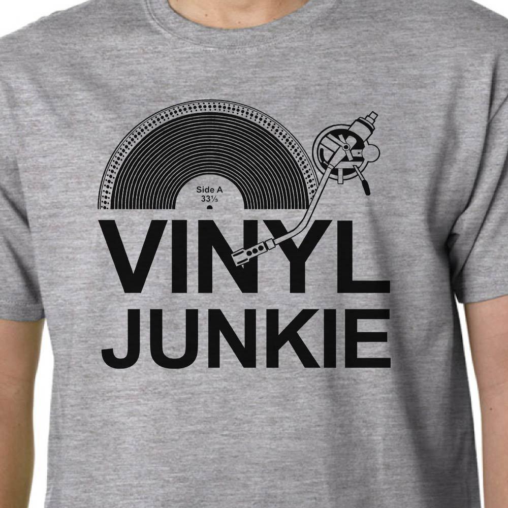 Vinyl Junkie Camiseta Música LP Jegyzetek Dj Tocadiscos Crate Digger Geek Szavak