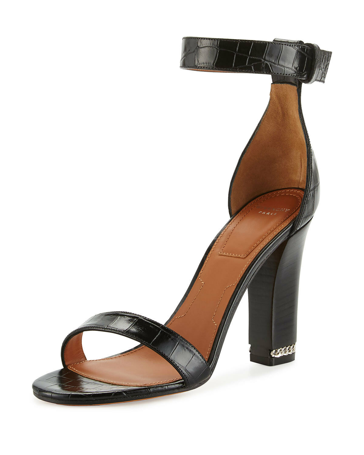 Givenchy Givenchy Givenchy Chain Crocodile-Embossed 105mm Sandal, Black 39.5 MSRP   795.00 ba8b1d