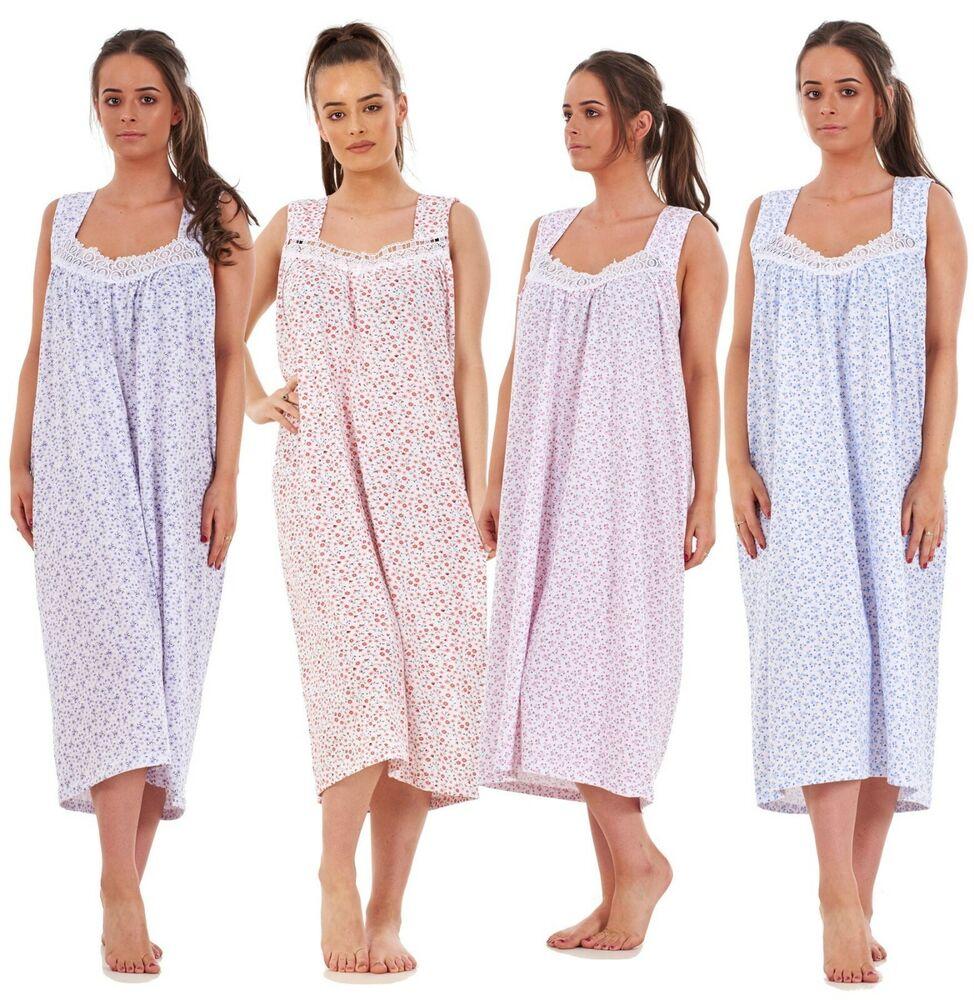 Femmes 100% Coton Sans Manches Imprimé Floral Long Chemise De Nuit Nightwear Chemise De Nuit