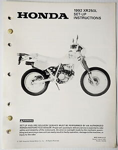 image is loading 1992-xr250l-set-up-instructions-manual-xr250-xr-