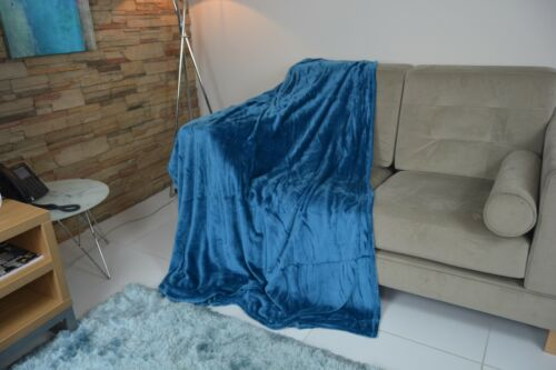 Sapphire Blue Throw luxurious large double size