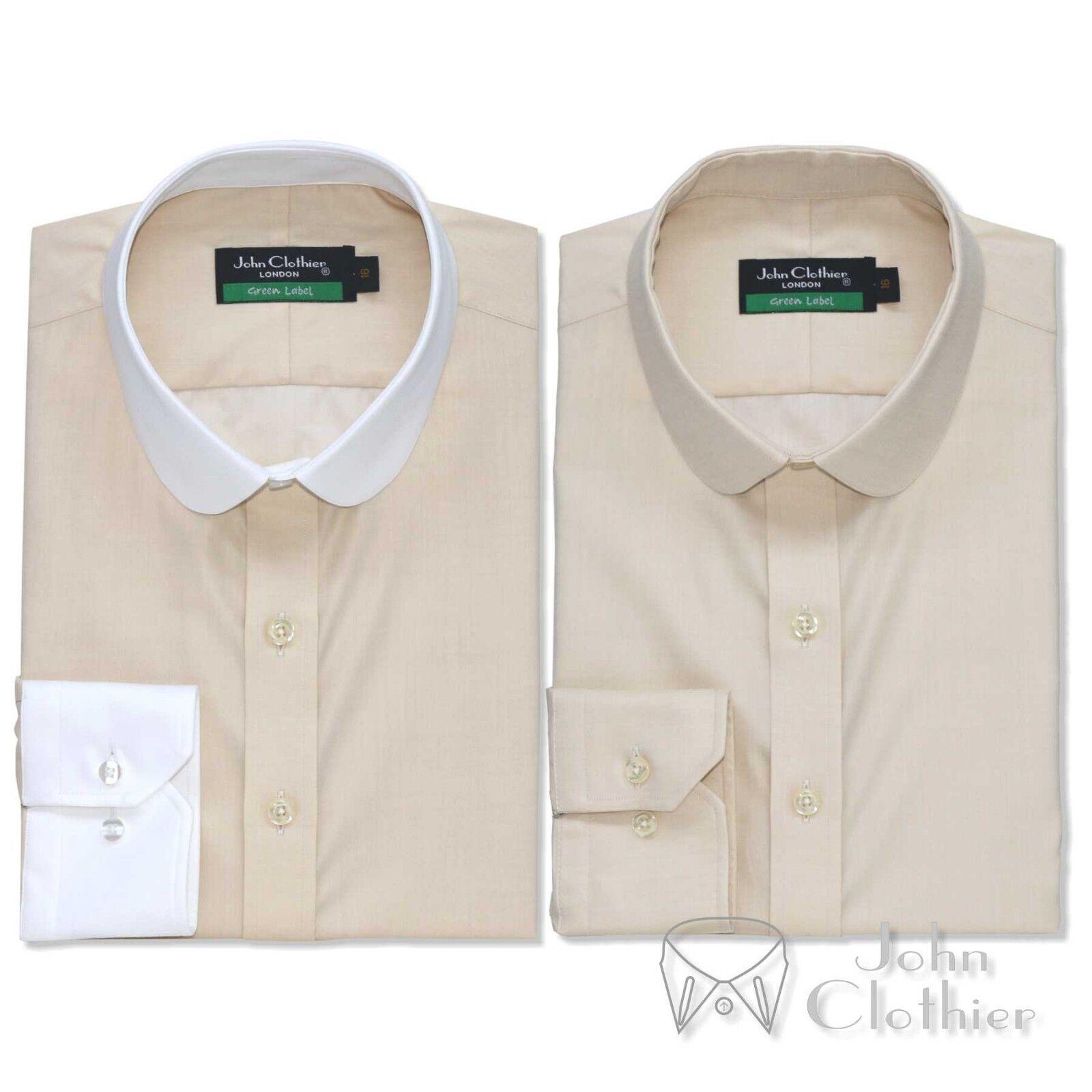 Herren Penny collar Cotton shirt Fawn milange plain Bankers Weiß Club Round Gents