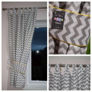 Image Is Loading Grey Chevron Curtains Nursery Baby Room Tab Top