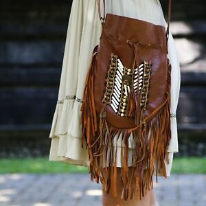 7a02dd0338 Boho Bag  Hand Made Indian Leather Hand Bag  Fringed Bag  Bohemian ...