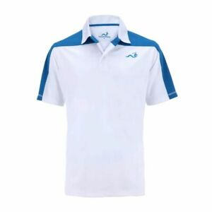 Woodworm Block Panel Golf Polo Shirt (White / Blue)
