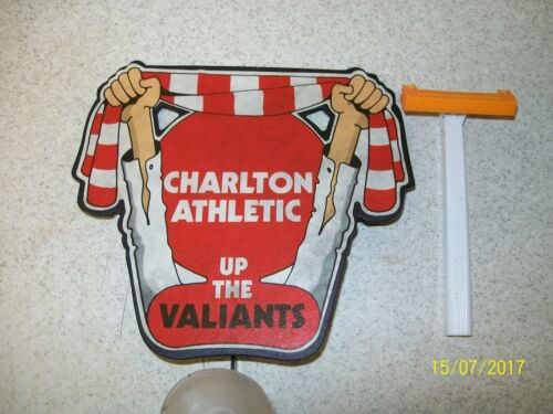 Vintage CHARLTON ATHLETIC UP THE VALIANTS Back Windscreen Waving Advert Badge