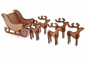 MDF en Bois Noël le traîneau du Père Noël avec renne/cerf de Noël Décoration  </span>
