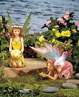 Solar Lighted Fairy Green Pink Or Set Fairies Garden Statue Outdoor Yard Art
