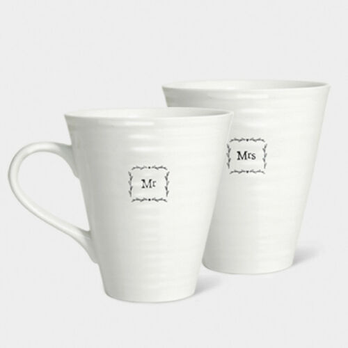 East Of India Mr and Mrs Porcelain Mugs Gift Boxed Wedding Gift Anniversary