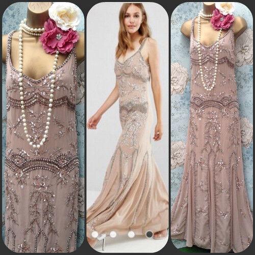 Maya Asos Red Carpet Vtg bead 20s deco Evening wedding Dress Gatsby Sequin 10 14