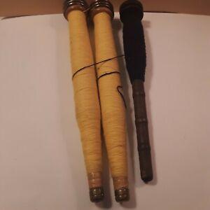 3 vintage wooden bobbin spools