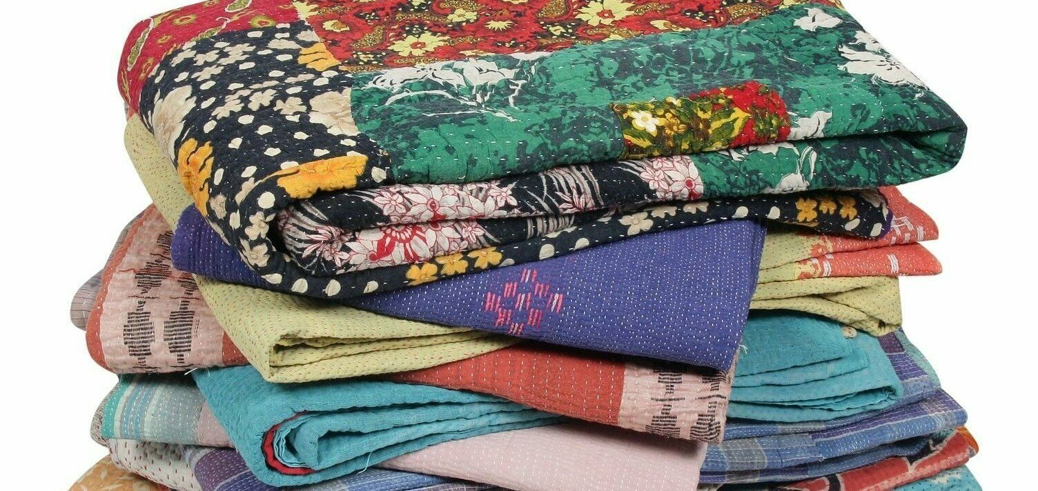 Indian Floral Printed Kantha Work Quilt 20 Pcs Lot Vintage Quilt Cotton Quilt
