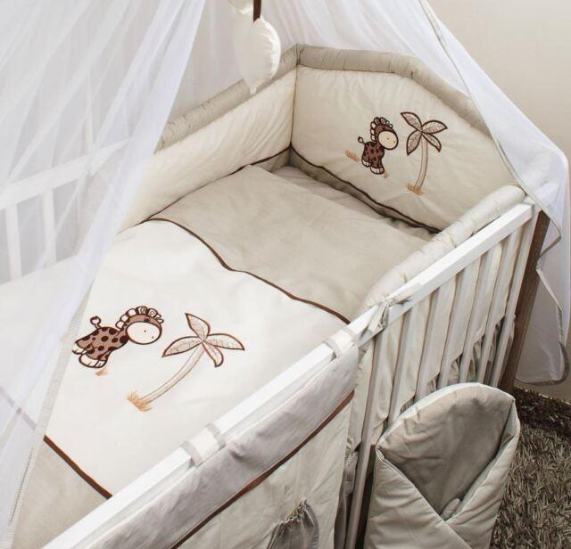 5 Piece Pcs Nursery Cot Bedding Set Padded Safety Per 120 Or 140 Cm Giraffe