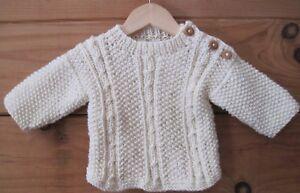 dc30e2e17 Baby Sweater Winter White Hand Knit Irish Knit 0 to 6 Months Acrylic ...