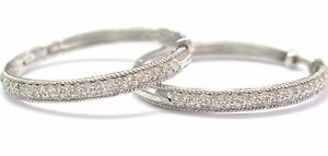 18KT-Hoop-Round-Cut-Diamond-Earrings-Solid-White-Gold-45CT-F-G