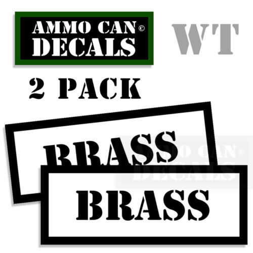 """BRASS Ammo Can Decals Ammo Can Labels 3/"""" Ammo Can Stickers B/&W  2 pack WT"""