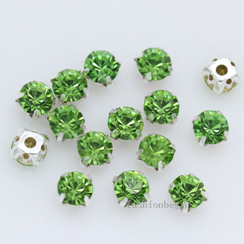 144p 6mm faceted crystal Sew On cut glass cup Rhinestones diamante Montees Beads