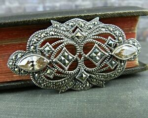Vintage Rectangular Silver Toned Pin Brooch Marcasite Used