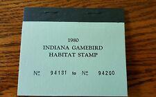 Vintage Indiana Duck Stamps Indiana Game bird Habitat Stamp 1980