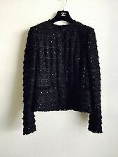 05P Chanel Classic Sequined Fringe-Trimmed Tweed Jacket 40 38