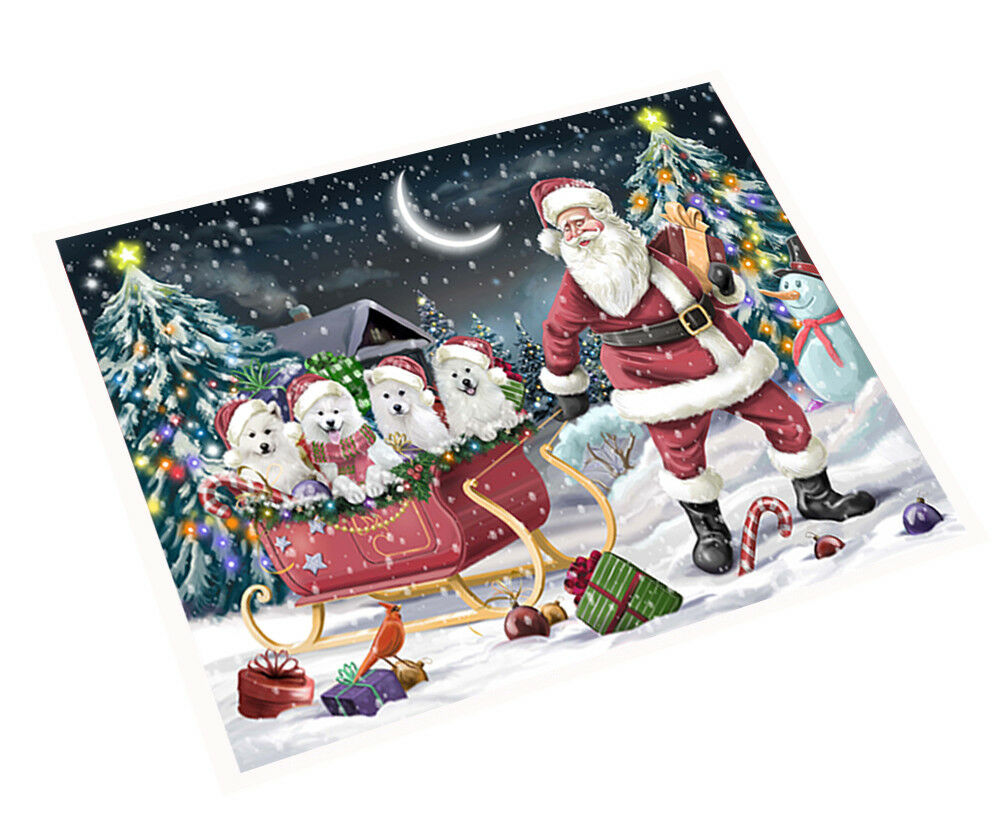 Merry Christmas Santa Sled Samoyed Dogs Woven Throw Sherpa Blanket T303