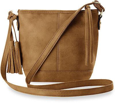 Schultertasche Damen - Tasche Boho - Style mit Fransen - Anhänger braun