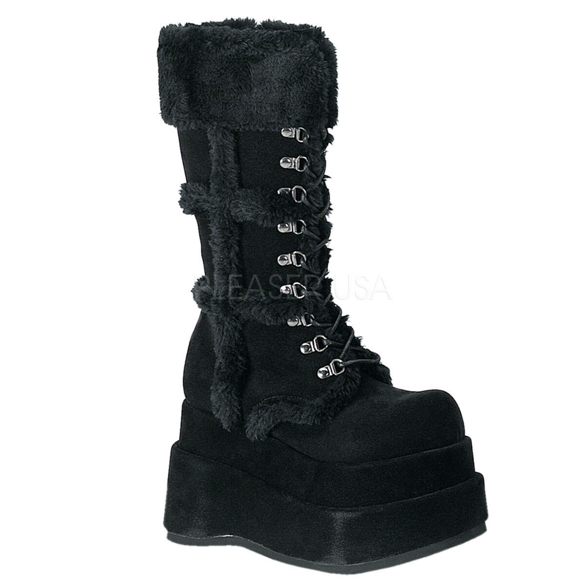 Demonia BEAR-202 Vegan Black Suede D-Ring Lace Up Mid Calf Boots
