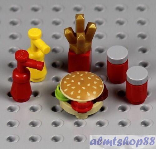 6 pcs Lot Hamburger French Fries Drink w// Ketchup Mustard Food Minifigure LEGO