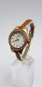 Rotary-LB03907-01-Ladies-039-Rose-Gold-Stone-set-Brown-Starp-Watch-SB-11156