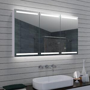 Details zu Alu LED Beleuchtung Badezimmer Bad spiegel schrank Kosmetik  Schmink spiegel 120