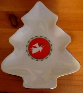 Vintage-Christmas-Tree-Shape-Candy-Nut-Dish-with-Angel-amp-Horn-Japan