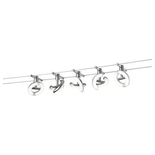 2 x 5 Meter Seil und Montagezubehör LED Strahler Avignon weiß inkl chrom
