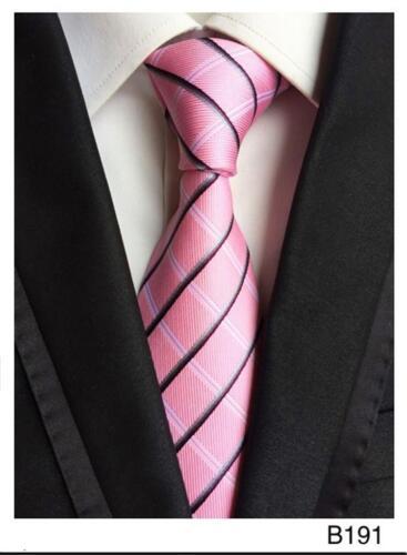 Rose Gris et Blanc Homme Cravate à Rayures Modèle Fait Main 100/% Soie Mariage Cravate