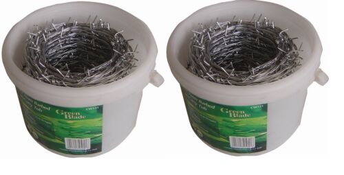BARBED BARB WIRE GALVANISED IN CARRY TUB GARDEN SECURITY FENCING PLIABLE ROLL
