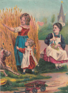Carson Pirie & Co Stationery Department Girls Straw Toy Wagon  Vict Card c1880s