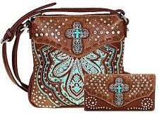 Montana West Cross Accented  Floral Design Western Messenger Bag Set
