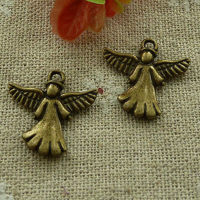 free ship 90 pieces Antique bronze angel charms 21x20mm #2917