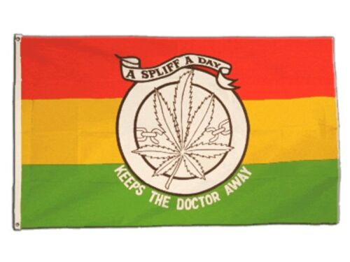 Fahne Hanf A spliff a day keeps the doctor away Flagge  Hissflagge 90x150cm