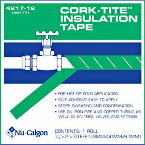"Nu-Calgon 4217-12 Black Cork-Tite Insulation Self Adhesive Tape 2/"" x 30/'"
