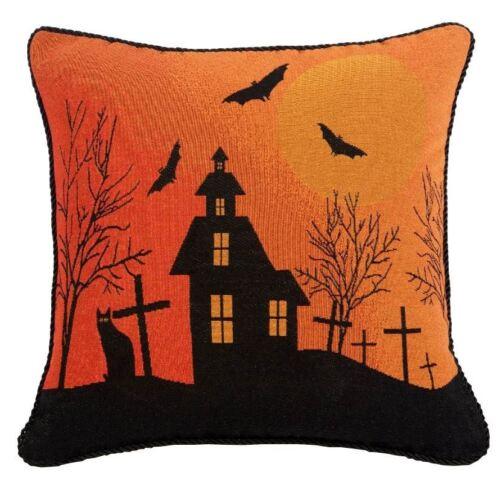 "Halloween Spooky House noir orange TAPISSERIE VELOURS 18/"" 45 cm Housse de coussin"