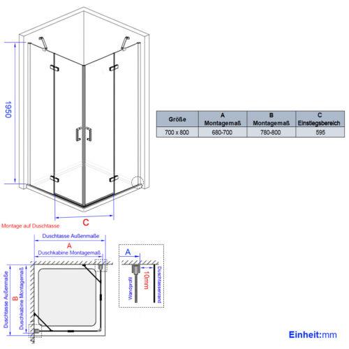 Duschkabine 75x75 120x80 100x100 Eckeinstieg Dusche Duschabtrennung NANO Glas