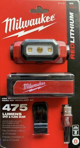Milwaukee 2111-21 475 Lumen LED Rechargeable Headlamp Brand New Free Shipping